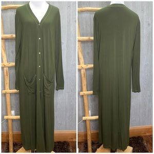 SIMPLE Suzanne Betro Olive Green Maxi Cardigan LG